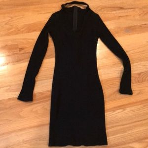 Dresses & Skirts - Black cotton/polyester ribbed long sleeve dress